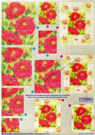 Red Roses Pyramex Dufex 3d Decoupage Pyramid Sheet